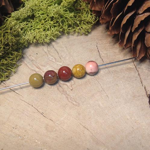 Perle jaspe mokaïte 6 / 6.5mm
