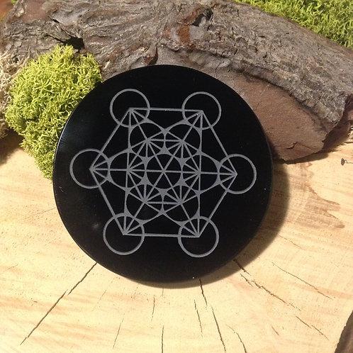 Disque d'obsidienne noire et cube de Métatron