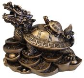 Dragon Tortue en résine dorée 9 cm