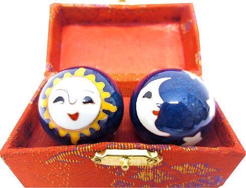 Boules de massage bleues lune & soleil 3.5cm