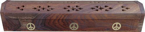 """Porte encens hut en bois symbole """"peace"""""""