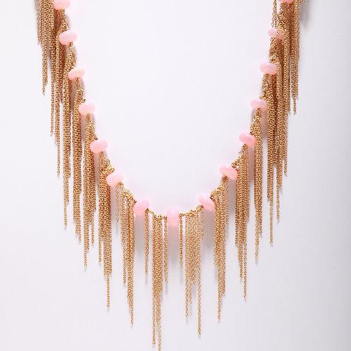 Peruvian Pink Opal Fringe Necklace