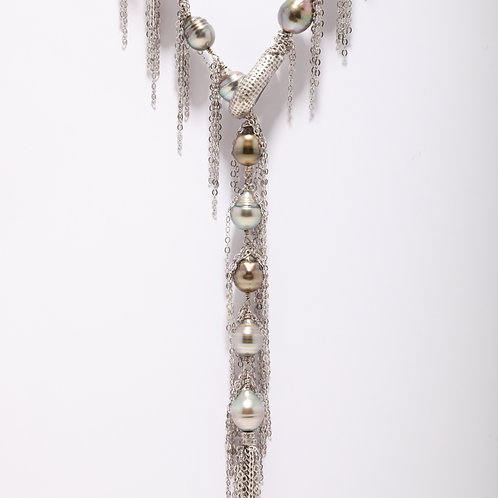 Tahitian Pearl Fringe Necklace with a Pave Diamond Clasp