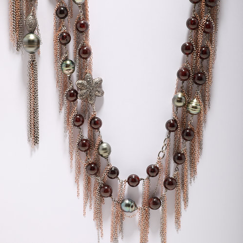 Tahitian Pearl and Garnet Bead Fringe Necklace with Pave Diamond Flowers