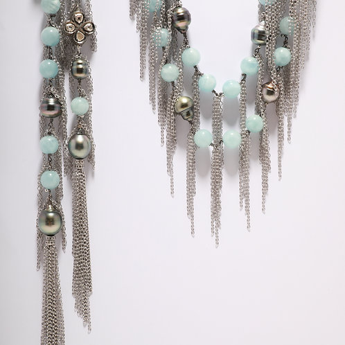 Aquamarine and Tahitian Pearl Fringe Necklace with Pave Diamond Beads