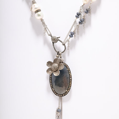 White South Sea Pearls with Blue Sapphire Beads & Pendants