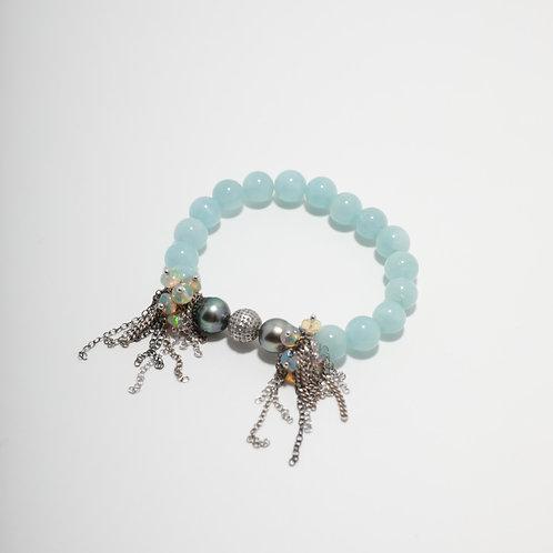 Aquamarine & Tahitian Pearl Fringe Bracelet