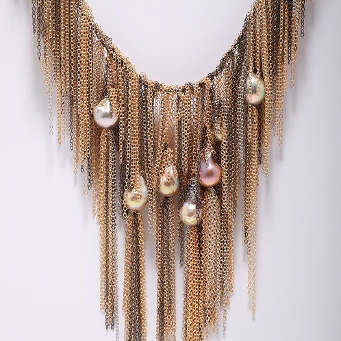 Fresh Water Pearl Necklace with a Waterfall of Fringe Chain