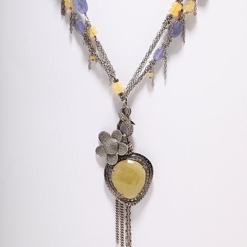 Tanzanite and Opal Chain Necklace with Flower & Sapphire Pendants
