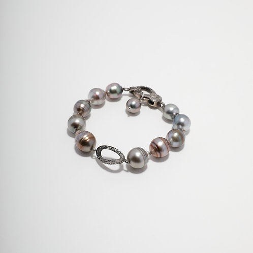 Tahitian Pearl & Diamond Link Bracelet