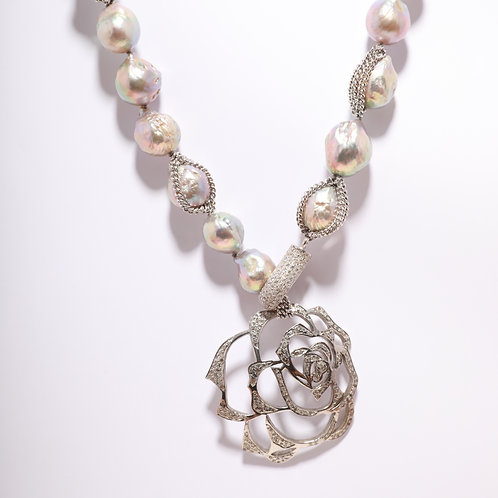 Fresh Water Pearl with a Diamond Encrusted Flower