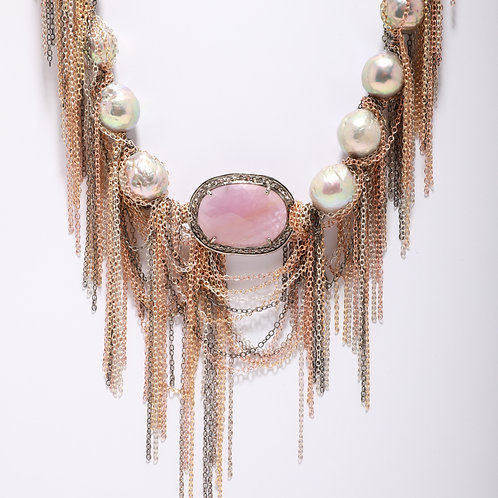 Pink Sapphire and Fresh Water Pearl Fringe Necklace