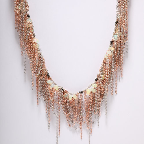 An Opal and Black Diamond Fringe Necklace