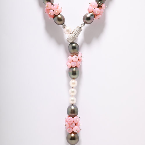 Tahitian and Akoya Pearls accented with a Pink Opal