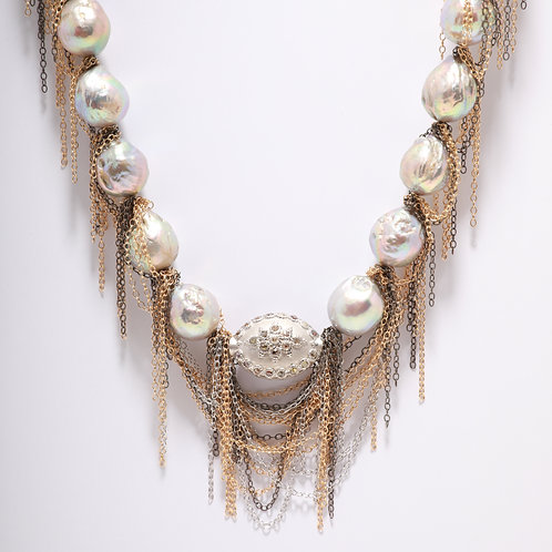 Fresh Water Pearl Fringe Necklace, with a Diamond encrusted Sterling Silver Bead