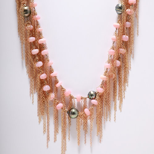 Pink Opal and Tahitian Pearls Fringe Necklace
