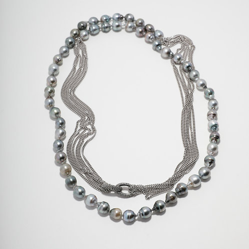 Tahitian Pearl Chain Necklace with Pave Diamond Links