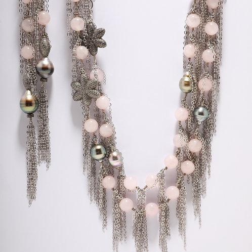 Rose Quartz and Tahitian Pearl Fringe