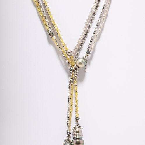 Yellow and White Sapphire Chain with Tahitian Pearls