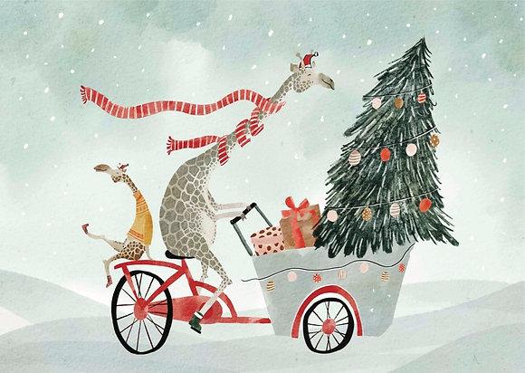 Kerst: Giraffe op bakfiets