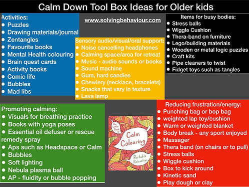 Calm Down Toolbox for Older Kids