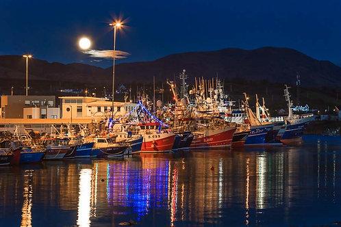 The moon rising over Castletownbere Fishing Fleet
