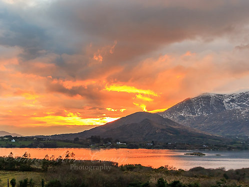Sunset over Hungry Hill and Adrigole Harbour