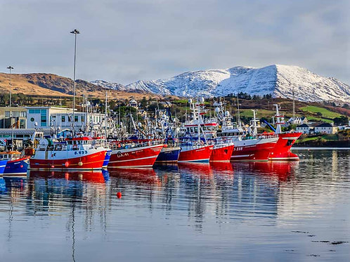Castletownbere Fishing Boats with snow on the hills