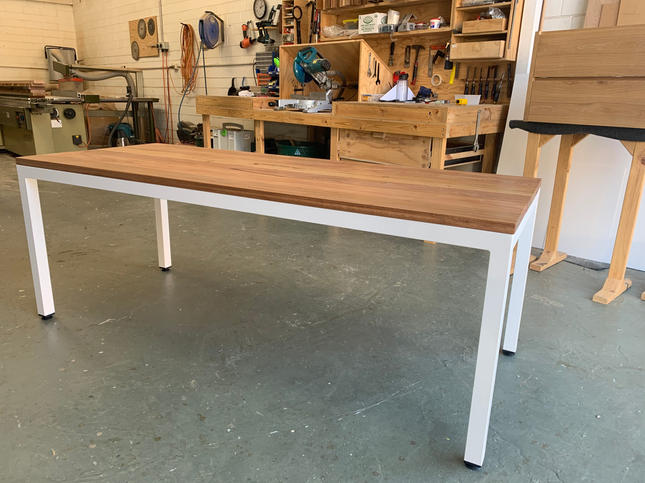 Blackbutt and white steel outdoor table