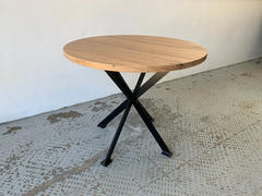 Recycled hardwood on custom steel base