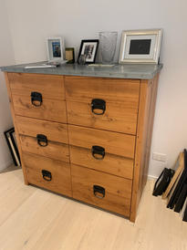 Recycled Oregon and zinc top dresser drawers