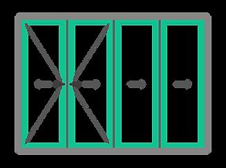 1. pui 4 delig vouwwand met dubbele loop