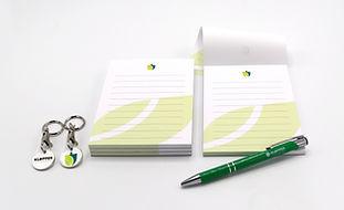 A6 Notitieblokken, pennen en winkelwagen