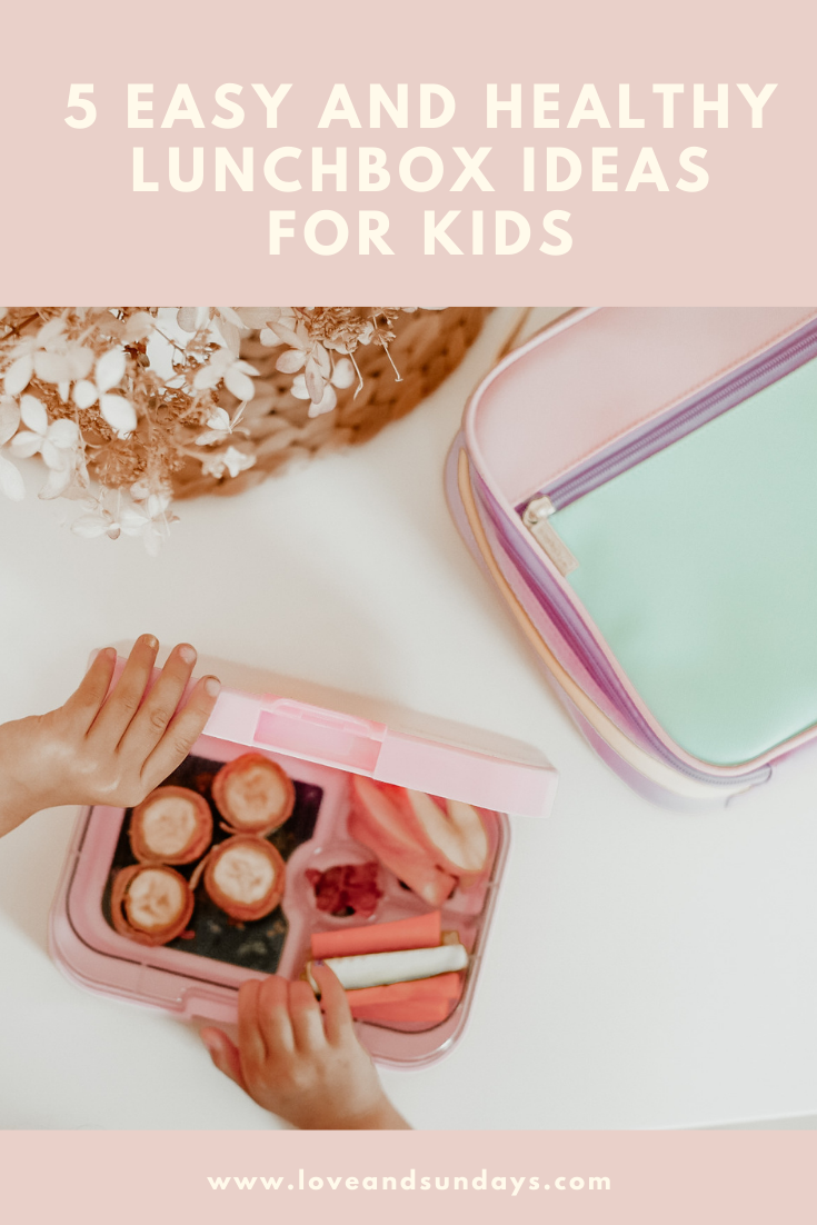 Pink lunchbox on counter with easy and health lunchbox ideas for kids