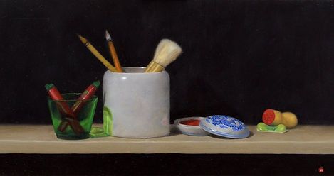 The Art of Louise Marks. For The Chop. A realistic still life fine art oil painting depicting Chinese calligraphy items. Painted by the female artist Louise Marks in Edinburgh.