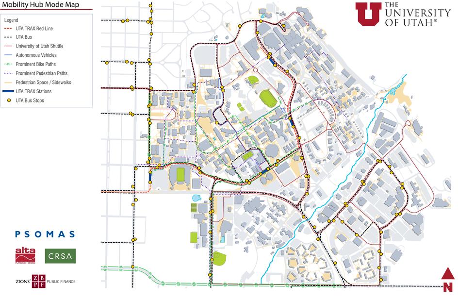 U of U Mobility Hub Modes Map