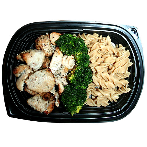 TENDER CHICKEN BITES (whole-wheat pasta and broc