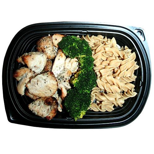TENDER CHICKEN BITES (whole-wheat pasta & broccoli)