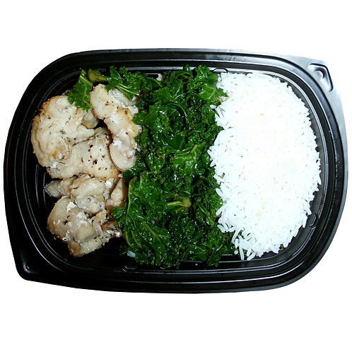 BAKED COD PEICES (white rice & kale)