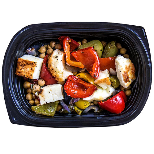 GRILLED HALLOUMI (roasted vegetables & chickpeas)