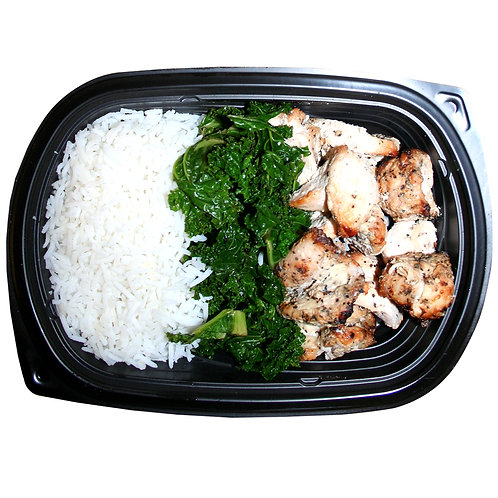 TENDER CHICKEN BITES (white rice & kale)