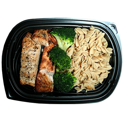 HALAL BAKED SALMON FILLET (whole-wheat pasta & broccoli)