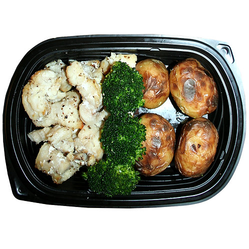 BAKED COD PEICES (new potatoes & broccoli)