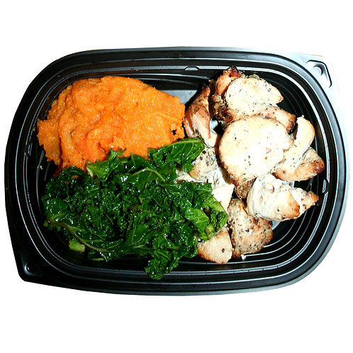 HALAL TENDER CHICKEN BITES (mashed sweet potato and kale)