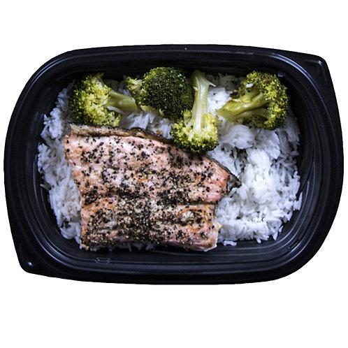BAKED SALMON FILLET (white rice & broccoli)