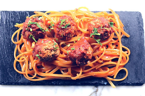 HALAL Turkey Meatballs served on a bed of brown linguini in an arabata sauce