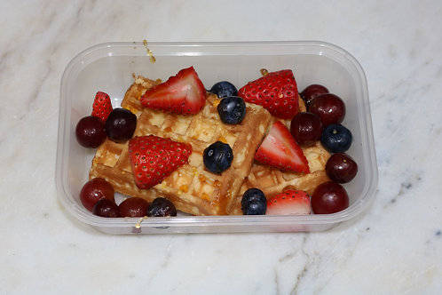 High Protein Waffles With Honey and Fruit