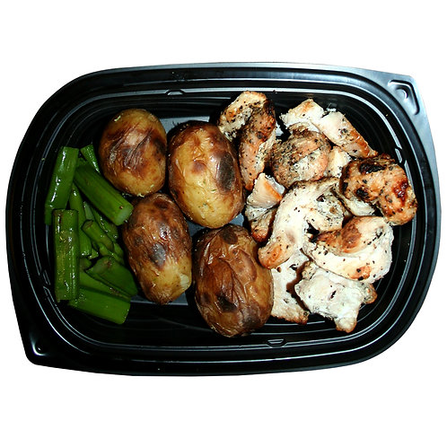 TENDER CHICKEN BITES (new potatoes & asparagus)