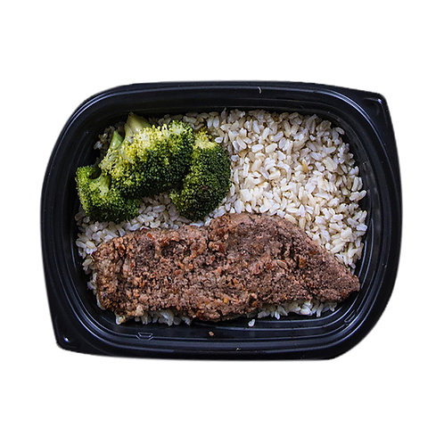 GRILLED PEPPERED STEAK (brown rice & broccoli)