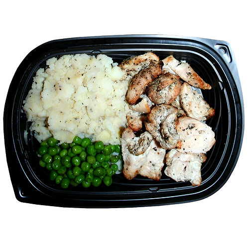 HALAL TENDER CHICKEN BITES (mashed white potato and peas)